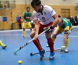 BERLIN - Indoor Hockey World Cup<br /> South Africa - Belgium<br /> foto: C&eacute;dric Charlier <br /> WORLDSPORTPICS COPYRIGHT FRANK UIJLENBROEK