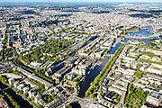 Nederland, Noord-Holland, Amsterdam, 27-09-2015; Overzicht oostelijk deel Amsterdamse binnenstad met Oostelijke Eilanden (voorgrond) en Kadijken aan de andere kant van de Wittenburgergracht gevolgd door de Plantage. Aan de Plantage Middenlaan dierentuin Artis (met groene bomen). Links o.a. Mauritskade en Sarphatistraat<br /> Overview eastern downtown Amsterdam.<br /> luchtfoto (toeslag op standard tarieven);<br /> aerial photo (additional fee required);<br /> copyright foto/photo Siebe Swart