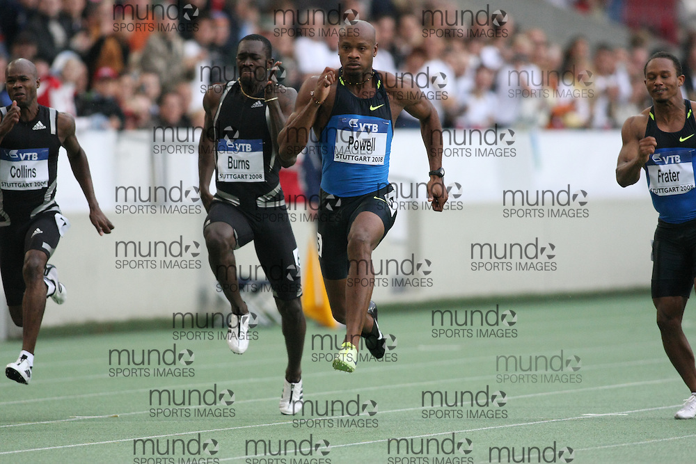 (Stuttgart, Germany---13 September 2008) Asafa Powell of Jamaica runs to victory in the 100m at the 2008 World Athletics Final. Powell's winning time was 9.87 seconds. [Copyright Sean W. Burges/Mundo Sport Images, 2008.]