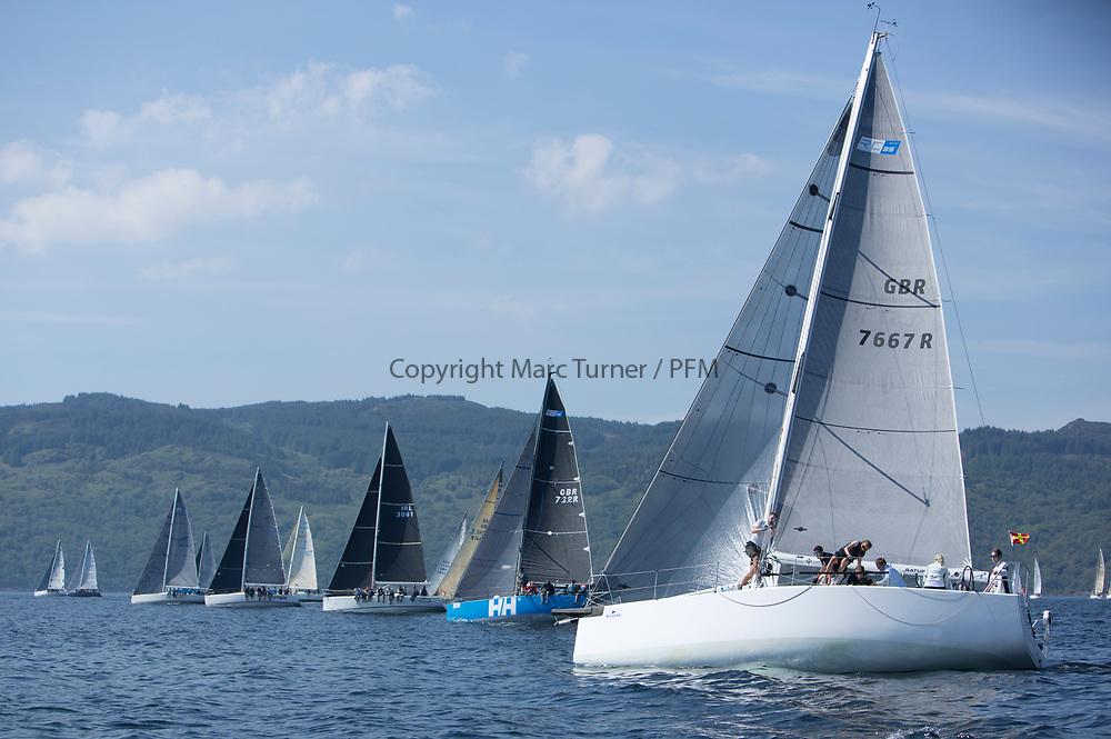 Silvers Marine Scottish Series 2017<br /> Tarbert Loch Fyne - Sailing<br /> <br /> RC35 Fleet Start with GBR7667R, Now or Never 3, Neil Sandford, Fairlie YC, Mat 1010