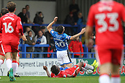 PENALTY Gabriel Zakuani fouls Ian Henderson during the EFL Sky Bet League 1 match between Rochdale and Gillingham at Spotland, Rochdale, England on 23 September 2017. Photo by Daniel Youngs.