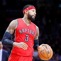 27 December 2014: Toronto Raptors forward James Johnson (3) brings the ball up court during the Toronto Raptors 110-98 victory over the Los Angeles Clippers, at the Staples Center, Los Angeles, California, USA.
