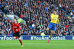 GOAL: Arsenal's Aaron Ramsey heads home to make it 0-1 - Photo mandatory by-line: Gary Day/JMP - Tel: Mobile: 07966 386802 30/11/2013 - SPORT - Football - Cardiff - Cardiff City Stadium - Cardiff City v Arsenal - Barclays Premier League