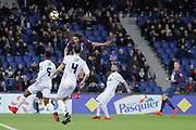 Edinson Roberto Paulo Cavani Gomez (psg) (El Matador) (El Botija) (Florestan) headed the ball to score, Moustapha DIALLO (En Avant De Guingamp), Benjamin ANGOUA (En Avant De Guingamp) during the French Cup, round of 32, football match between Paris Saint-Germain and EA Guingamp on January 24, 2018 at Parc des Princes stadium in Paris, France - Photo Stephane Allaman / ProSportsImages / DPPI