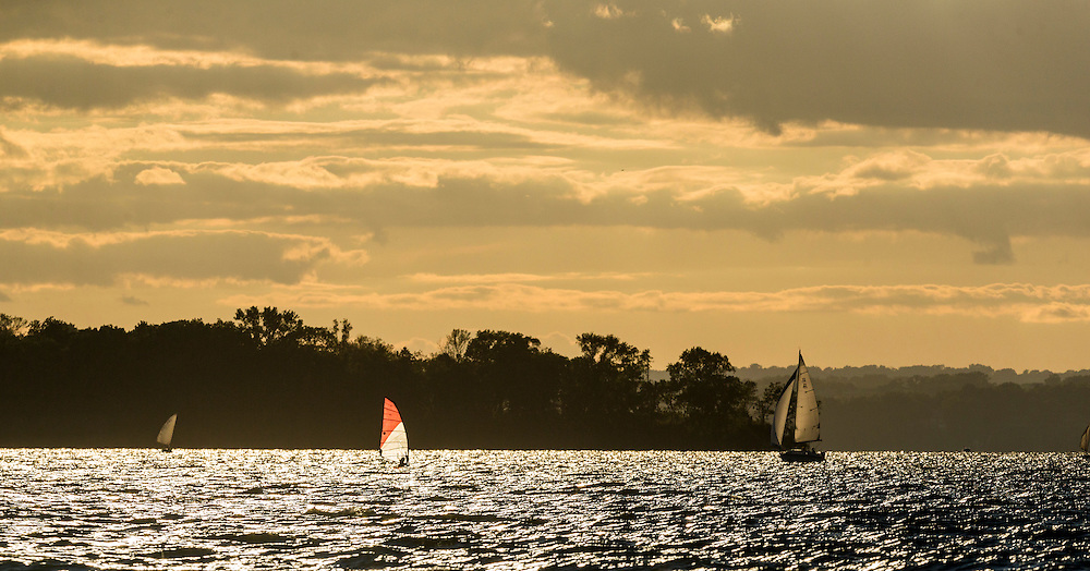 Sailing on Lake Mendota Picnic Point Madison, Wis. sunset clouds August 5, 2016. (Photo © Andy Manis)