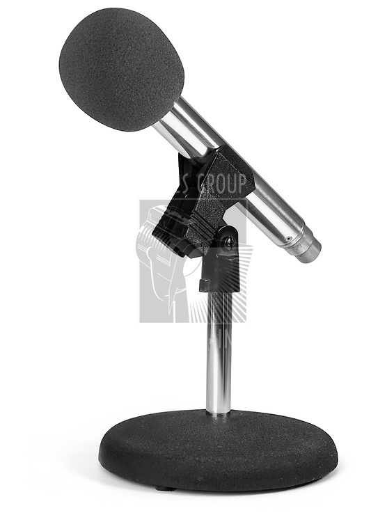 modern microphone on stand with white background