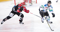 28.12.2015, Tiroler Wasserkraft Arena, Innsbruck, AUT, EBEL, HC TWK Innsbruck die Haie vs HDD TELEMACH Olimpija Ljubljana, 36. Runde, im Bild vl.:  Andreas Valdix (HC TWK Innsbruck Die Haie), Maks Selan (HDD Telemach Olimpija Ljubljana) // during the Erste Bank Icehockey League 36th round match between HC TWK Innsbruck  die Haie and HDD TELEMACH Olimpija Ljubljana at the Tiroler Wasserkraft Arena in Innsbruck, Austria on 2015/12/28. EXPA Pictures © 2015, PhotoCredit: EXPA/ Jakob Gruber