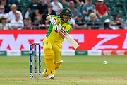David Warner of Australia plays an attacking shot during the ICC Cricket World Cup 2019 match between Afghanistan and Australia at the Bristol County Ground, Bristol, United Kingdom on 1 June 2019.