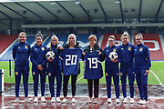 First Minister Nicola Sturgeon (Patron on the Scotland Womens National Team) Scotland Head Coach Shelley Kerr Joelle Murray (Hibernian FC) Jenna Fife (Hibernian FC) Leanne Crichton (Glasgow City FC) Hayley Lauder (Glasgow City FC) Lee Alexander (Glasgow City FC) & Jo Love (Glasgow City FC) looking forward to the Fifa Womens World Cup during the press conference for the Scotland Women's team World Cup Funding Announcement held at Hampden Park, Glasgow, United Kingdom on 26 September 2018.
