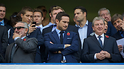 LONDON, ENGLAND - Saturday, October 31, 2015: Former Chelsea players Frank Lampard Senior and Junior with England manager Roy Hodgson before the Premier League match against Liverpool at Stamford Bridge. (Pic by Lexie Lin/Propaganda)