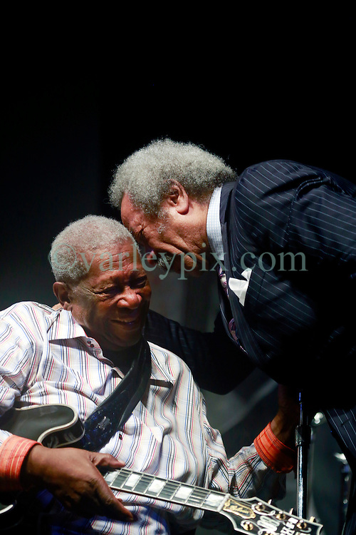 28 April 2013. New Orleans, Louisiana,  USA. .B.B. King (L) and Allen Toussaint, legendary musicians on stage at the Blues Tent at the New Orleans Jazz and Heritage Festival. .Photo; Charlie Varley.