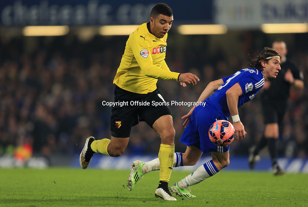 4 January 2015 - The FA Cup 3rd Round - Chelsea v Watford - Troy Deeney of Watford turns Filipe Luis of Chelsea - Photo: Marc Atkins / Offside.