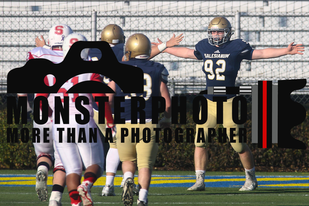 Salesianum tight end Kyle Cathers (92) celebrates with his teammates after scoring a touchdown in the first quarter during a DIAA Division I championship game between Smyrna and Salesianum Saturday, Dec. 05, 2015 at Delaware Stadium in Newark.