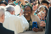 April 12, 2017: Pope Francis puts on a skullcap presented by a worshiper during his weekly general audience at St Peter's square, Vatican.<br /> Antoine Mekary | Aleteia | I.Media