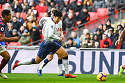 Tottenham Hotspur Forward Son Heung-Min (7) in action during the Premier League match between Tottenham Hotspur and Newcastle United at Wembley Stadium, London, England on 2 February 2019.