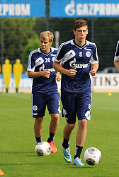 17.07.2013, Trainingsgelaende, Veltins Arena, GER, 1. FBL, FC Schalke 04 Training, im Bild V.l.n.r. Teemu Pukki und Leon Goretzka ( beide Schalke 04/ Action/ Aktion ), // during a Training Session of German Bundesliga Club Fc Schalke 04 at the Training Ground, Veltins Arena, Germany on 2013/07/17. EXPA Pictures © 2013, PhotoCredit: EXPA/ Eibner/ Thomas Thienel<br /> <br /> ***** ATTENTION - OUT OF GER *****