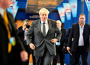 © Licensed to London News Pictures. 09/10/2012. Birmingham, UK The Lord Mayor of London, Boris Johnson, makes his way to the stage at The Conservative Party Conference at the ICC today 9th October 2012. Photo credit : Stephen Simpson/LNP
