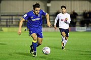 AFC Wimbledon attacker Egli Kaja (21) dribbling during the EFL Trophy match between AFC Wimbledon and Tottenham Hotspur at the Cherry Red Records Stadium, Kingston, England on 3 October 2017. Photo by Matthew Redman.
