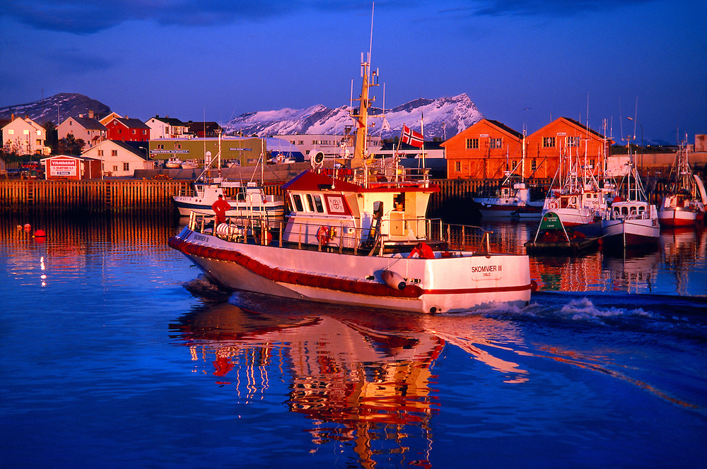 In the harbor during the middle of the night (Midnight Sun), Bodo, Arctic, Northern Norway