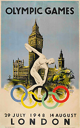 Offical poster for London Olympic Games, 1948. 1948. Credit: Album