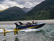 From Makarora, Wilkin River Jets takes us 3km via jetboat up the Makarora River to Young River confluence to begin tramping the Gillespie Pass Circuit, in Mount Aspiring National Park, Southern Alps, Otago region, South Island of New Zealand.