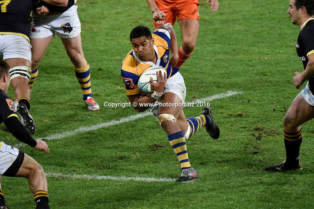 Bay of Plenty's Monty Ioane runs with the ball during the Mitre 10 Cup - Wellington vs Bay of Plenty rugby match at Westpac Stadium on Friday the 16th of September 2016. Copyright Photo by Marty Melville / www.Photosport.nz