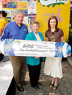 NEW YORK - AUGUST 11:  Mark J. Schwab (L), President and Chief Executive Officer, along with Amber Tamblyn (R), star of the hit summer movie ÒSisterhood of the Traveling PantsÓ and the CBS series ÒJoan of Arcadia, hand a check for $100,000 to Dr. Pamela L. Riley (C), Executive Director, Students Against Violence Everywhere (SAVE) after Amber Tamblyn unveiled more than 150 artworks in a Crayola sponsored mosaic mural at the Central Park Zoo August 11, 2005 in New York City. A national survey commissioned by Crayola revealed that if kids could erase a problem from the world, it would be violence.  Of the 1,000 kids who participated in the Erase It! Survey, 33% selected violence, followed by school bullies (18%), homelessness (16%), illness (14%), hunger (13%) and pollution (4%).   Crayola fielded the survey to give kids a voice in deciding where the company should direct its Erase It! Fund donation and the opportunity to draw what was on their minds.  Because kids rated violence as their top concern, Crayola donated $100,000 to Students Against Violence Everywhere (SAVE) to support its anti-violence education programs in more than 1,500 schools across the country. (Photo by William Thomas Cain/Handout/Getty Images) NEW YORK - AUGUST 11:  Amber Tamblyn, star of the hit summer movie ÒSisterhood of the Traveling PantsÓ and the CBS series ÒJoan of Arcadia,Ó speaks to the audience after she unveiled more than 150 artworks in a Crayola sponsored Students Against Violence Everywhere (SAVE) mosaic mural at the Central Park Zoo August 11, 2005 in New York City. A national survey commissioned by Crayola revealed that if kids could erase a problem from the world, it would be violence.  Of the 1,000 kids who participated in the Erase It! Survey, 33% selected violence, followed by school bullies (18%), homelessness (16%), illness (14%), hunger (13%) and pollution (4%).   Crayola fielded the survey to give kids a voice in deciding where the company should direct its Erase It! Fund
