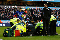 Football - Premier League - Wolverhampton Wanderers vs. Aston Villa - Wolves' Emmanuel Frimpong lies injured and is treated by a number of medical staff at Molinuex.