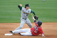 Tulane's Garrett Cannizaro (2) forces out Ole Miss' Tanner Mathis (12) and throws to a double play in the first inning at Oxford-University Stadium in Oxford, Miss. on Sunday, March 6, 2010. Tulane won 3-1.