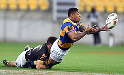 Bay of Plenty's Monty Ioane frees the ball in the tackle of Wellington's Thomas Umaga-Jensen in the Mitre 10 Rugby Final match at Westpac Stadium, Wellington, New Zealand, Friday, October 27, 2017. Credit:SNPA / Ross Setford  **NO ARCHIVING**