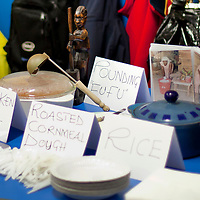 Picture Shows :  Ghana Food Table (detail).Muthill Primary School, Muthill by Crieff, Perthshire, Scotland stage an evening of international cooking to celebrate their joint work with a partner school Juliet Johnson School, Ghana which is visiting this week. They have strong links with the Ghanians and have helped to raise money to contribute toward funding a new school bus.   Feature for TESS..Picture Drew Farrell Tel : 07721-735041