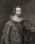 George Villiers, 1st Duke of Buckingham (1592-1628) English courtier; favourite of James I and Charles I.  Assassinated 23 August 1628.  Engraving.