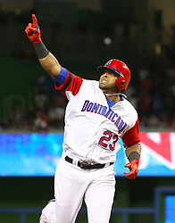 March 11, 2017 - Miami, FL, USA - The Dominican Republic's Nelson Cruz rounds third base after hitting a three-run home run during the eighth inning against the United States in a World Baseball Classic first round Pool C game at Marlins Park in Miami on Saturday, March 11, 2017. The Dominican Republic won, 7-5. (Credit Image: © David Santiago/TNS via ZUMA Wire)