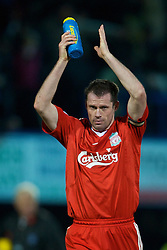 PORTSMOUTH, ENGLAND - Saturday, February 7, 2009: Liverpool's Jamie Carragher after the 3-2 victory over Portsmouth during the Premiership match at Fratton Park. (Mandatory credit: David Rawcliffe/Propaganda)