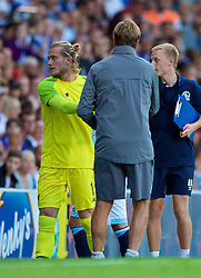 BLACKBURN, ENGLAND - Thursday, July 19, 2018: Liverpool's goalkeeper Loris Karius shakes hands with manager Jürgen Klopp after being substituted during a preseason friendly match between Blackburn Rovers FC and Liverpool FC at Ewood Park. (Pic by Paul Greenwood/Propaganda)
