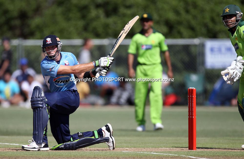Auckland's Martin Guptil batting. Twenty20 Cricket, Auckland Aces v Pakistan, Colin Maiden Park, Auckland. Thursday 23 December 2010.Photo: Andrew Cornaga/photosport.co.nz
