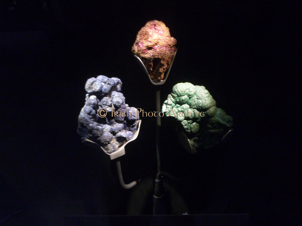 Copper Minerals - Azurite, malachite and chalcotrichite are all minerals of copper and sources of commercial ore.  Ground malachite and azurite have been used since ancient times as pigments to colour paint.