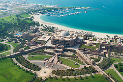 Elevated view of luxury Emirates Palace Hotel in Abu Dhabi, UAE, United Arab Emirates