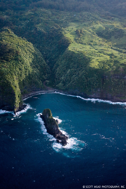 Aerial view of Jurassic Rock, from Jurrassic Rock movie, Huelo, Maui, Hawaii, coastline