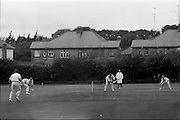 18/07/1970<br /> 07/18/1970<br /> 18 July 1970<br /> Cricket: Clontarf 1st XI v Old Belvedere, Leinster Senior Cup Final at Clontarf Cricket Club, Dublin. Kevin O'Riordan, Old Belvedere Opening Batsman, looks anxiously back as this ball passes the wicket.