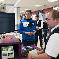 FK Trakai v St Johnstone…05.07.17… Europa League 1st Qualifying Round 2nd Leg<br />St Johnstone midfielder Blair Alston checks in for the flight to Vilnius in Lithuania at Edinburgh Airport<br />Picture by Graeme Hart.<br />Copyright Perthshire Picture Agency<br />Tel: 01738 623350  Mobile: 07990 594431