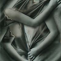 Conceptual image of a young woman under a sheet with arms holding material