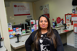 Pictured is subpostmistress Angelina Singadia<br /> <br /> Gill Furniss, MP for Brightside and Hillsborough, visited Margetson Crescent Post Office, Sheffield to meet subpostmistress Angelina Singadia and her team.<br /> <br /> Date: December 8, 2017