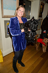 VISCOUNTESS GORMANSTON ahd her dog Otis at a recption hosted by the Dogs Trust held at George, 87-88 Mount Street, London on 23rd November 2015.