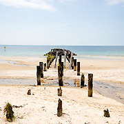 Old jetty on the beach at Fraser Island