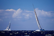 Ranger and Visione sailing in The Superyacht Cup regatta, Antigua 2010, race 2.