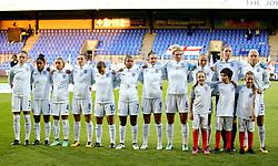 England women line up fo the national anthems - Mandatory by-line: Matt McNulty/JMP - 19/09/2017 - FOOTBALL - Prenton Park - Birkenhead, United Kingdom - England v Russia - FIFA Women's World Cup Qualifier