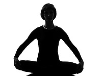 woman yoga sukhasana pose posture position in silouhette on studio white background