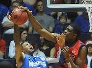 Mississippi's Reginald Buckner, right, blocks a shot by Memphis' Robert Sallie (3) during an NIT game in Oxford, Miss. on Friday, March 19, 2010.