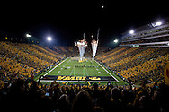 October 20 2012: The Iowa Hawkeyes take the field to pyrotechnics before the start of the NCAA football game between the Penn State Nittany Lions and the Iowa Hawkeyes at Kinnick Stadium in Iowa City, Iowa on Saturday October 20, 2012. Penn State defeated Iowa 38-14.